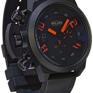 Welder-Mens-Quartz-Watch-with-Black-Dial-Chronograph-Display-and-Black-Rubber-Strap-K24-3300-0