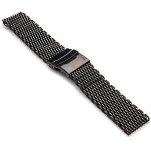 StrapsCo-22mm-Matte-Black-PVD-Shark-Mesh-Watch-Band-0