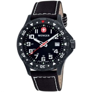 Wenger-Off-Road-Gents-Black-Dial-PVD-Leather-Strap-Watch-0